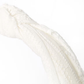 Eyelet Knotted Headband - White,