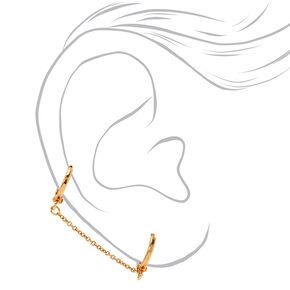 18kt Gold 10MM Connector Chain Hoop Earrings,