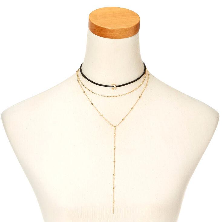 Multi-Layer Black & Gold-Tone Moon Choker Necklace,