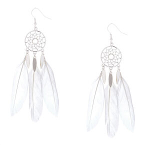 "Silver 3.5"" Dreamcatcher Drop Earrings - White,"