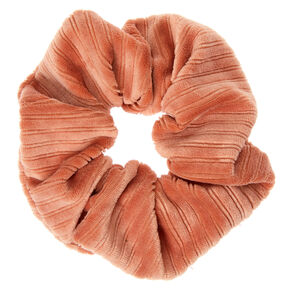 Medium Ribbed Velvet Hair Scrunchie - Peach,