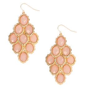 """Gold 2"""" Chandelier Drop Earrings - Pink,"""