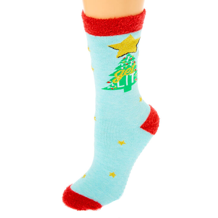 Get Lit Cozy Crew Socks - Blue,
