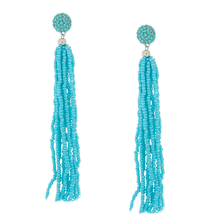 "4.5"" Beaded Tassel Drop Earrings - Turquoise,"