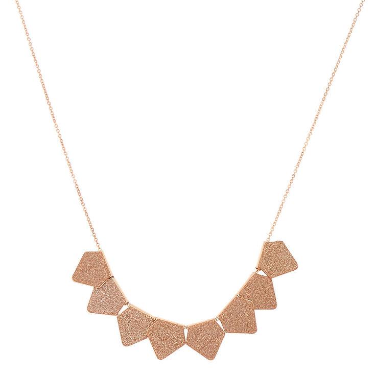 Rose Gold Glitter Statement Necklace - Rose Gold,