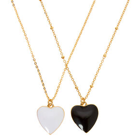 Gold Enamel Heart Pendant Necklaces - 2 Pack,