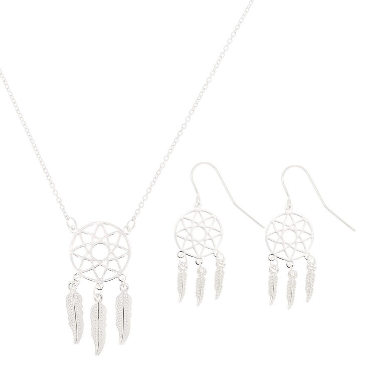 Silver Dreamcatcher Jewelry Set - 2 Pack,