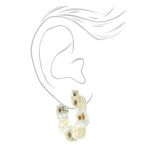 Blue & Green 30MM Resin Floral Hoop Earrings,