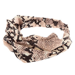 Snakeskin Twisted Headwrap - Blush,