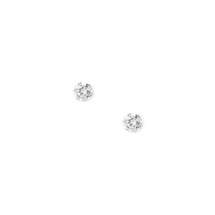 Sterling Silver 8MM Cubic Zirconia Cupcake Set Stud Earrings,