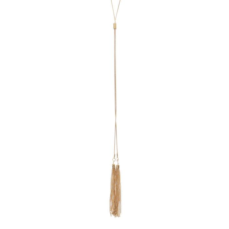 Gold Tassel Long Necklace,