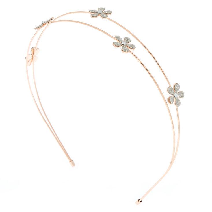 Rose Gold Glitter Flower Two Row Headband,