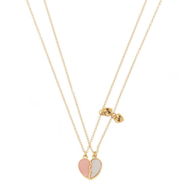Best Friends Broken Heart Pendant Necklaces - Pink, 2 Pack,