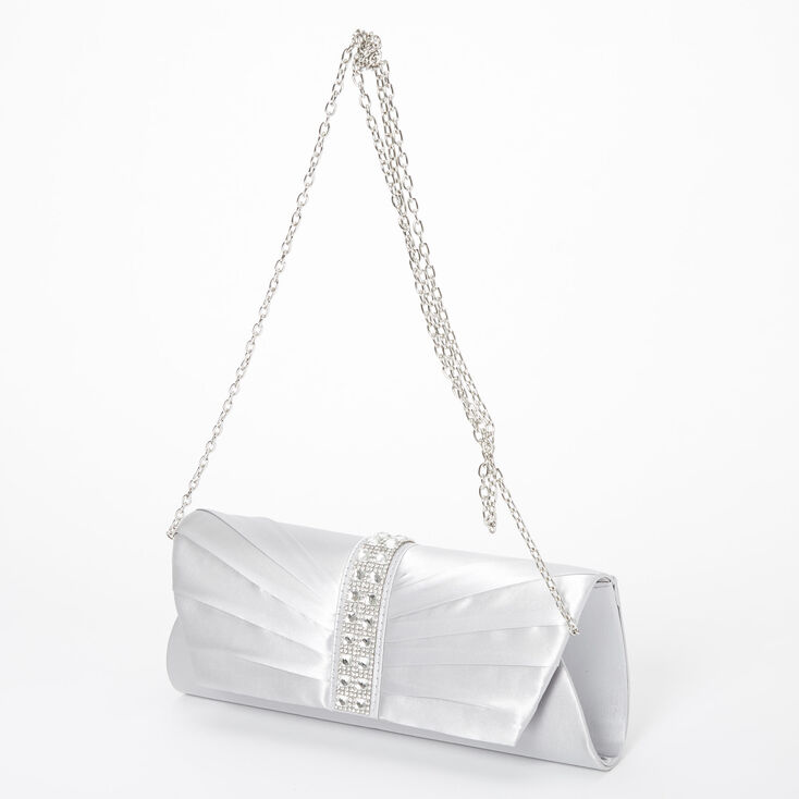 Embellished Clutch Bag - Silver,