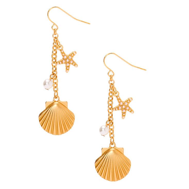 """Gold 2"""" Shell Drop Earrings,"""