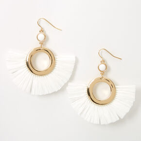 "Gold 2"" Beaded Circle Fan Drop Earrings - White,"