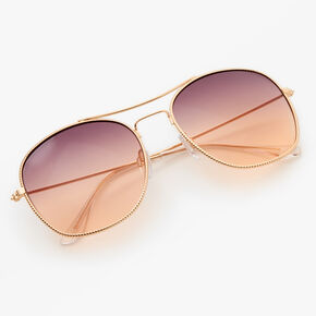 Rose Gold Studded Square Aviator Sunglasses - Lavender,