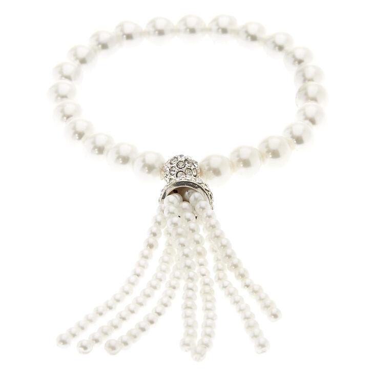 White Faux Pearl Fringe Charm Stretch Bracelet,