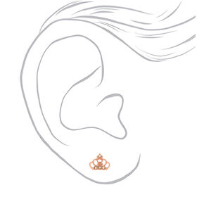 18kt Rose Gold Plated Stone Crown Stud Earrings,