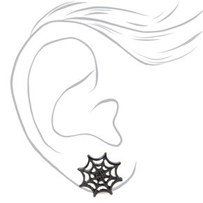 Black Spider Web Stud Earrings,