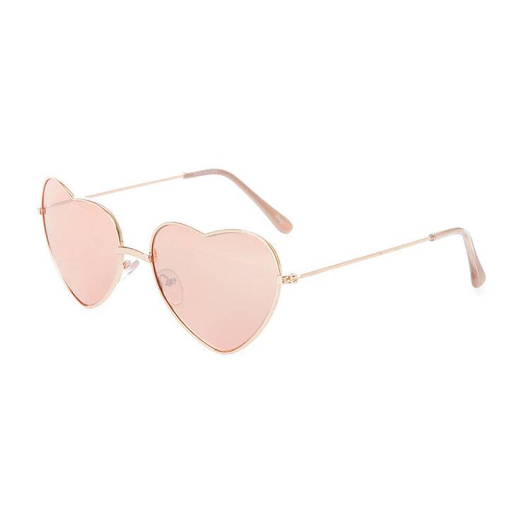 26c2ef5c0 Rose Gold Heart Shaped Aviator Sunglasses | Icing US