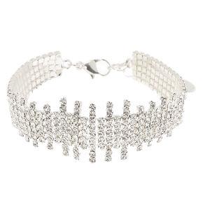 Silver Rhinestone Fishtail Chain Bracelet,