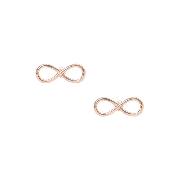 Gold Plated Rose Gold Infinity Symbol Earrings,