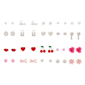 Silver Love Stud Earrings - 20 Pack,