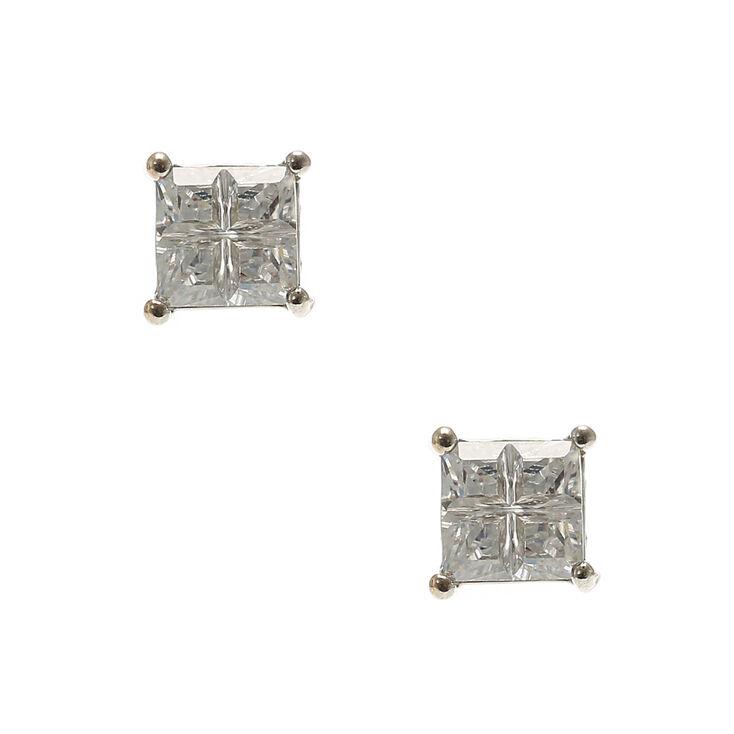 Cubic Zirconia Square Cut Stud Earrings,