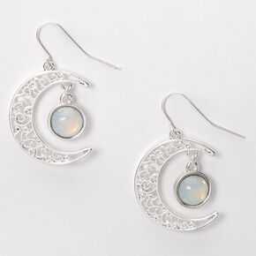 "Silver 1"" Opal Stone Crescent Moon Drop Earrings,"