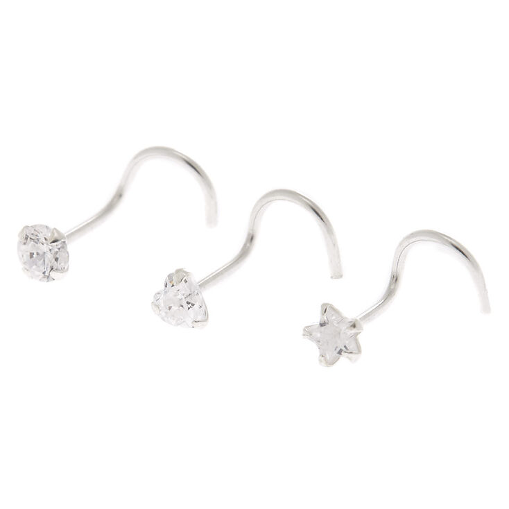 Sterling Silver 22G Cubic Zirconia Nose Studs - 3 Pack,