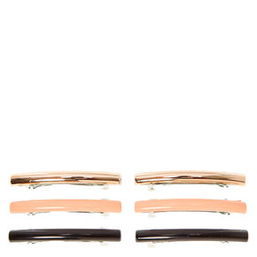 Rose Gold Toned Pink Black Rectangular Hair Clips,