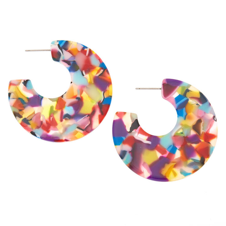 45MM Resin Half Hoop Earrings - Rainbow,
