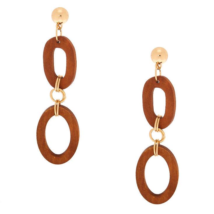 """Gold 3"""" Wooden Link Drop Earrings,"""