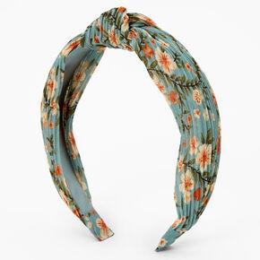 Floral Print Pleated Knotted Headband - Seafoam,