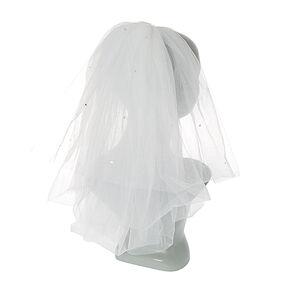 White Shoulder Length Bridal Veil,