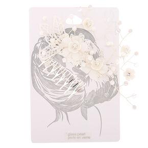 Crochet Flower Hair Comb - White,