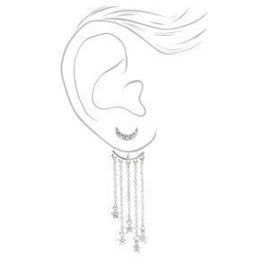 """Silver 2"""" Embellished Celestial Front and Back Drop Earrings,"""