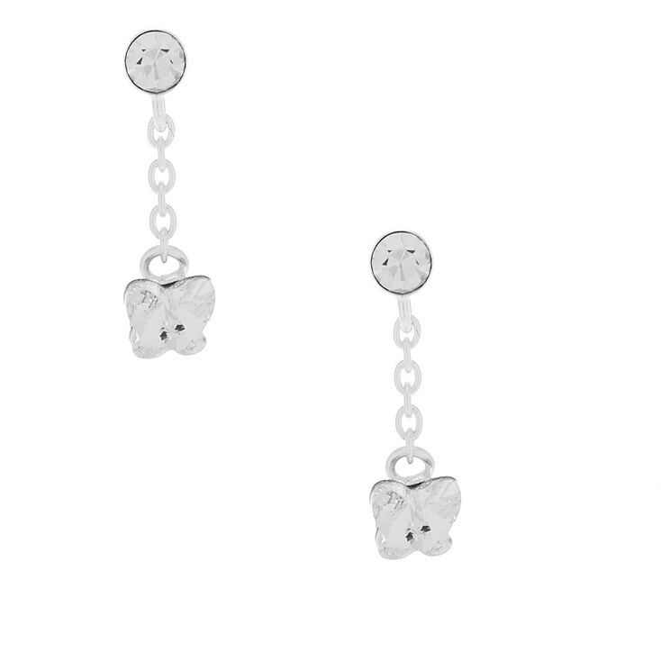 "Sterling Silver 0.5"" Swarovski® Crystal Butterfly Drop Earrings,"