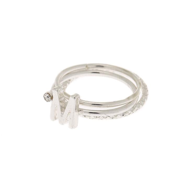 Silver Initial Midi Rings - M, 3 Pack,