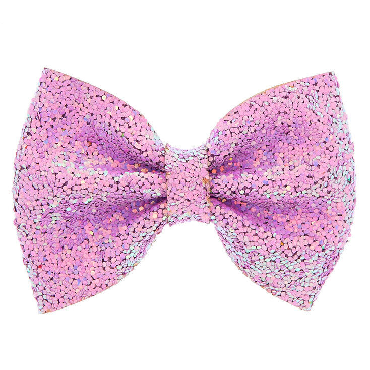 Iridescent Sequin Glitter Hair Bow Clip - Lilac,