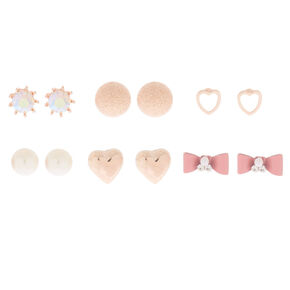 Rose Gold Chic Stud Earrings - 6 Pack,