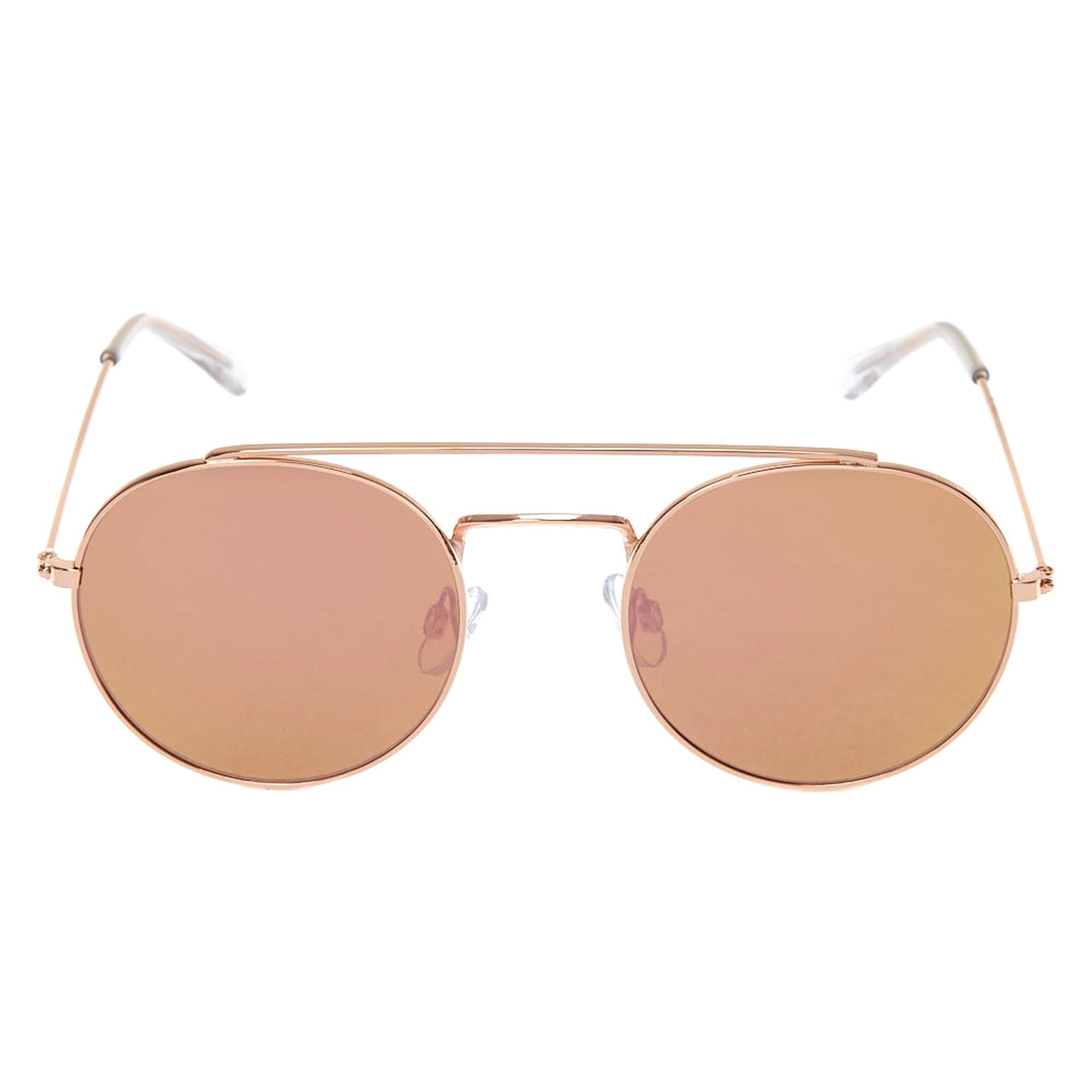 9e2bb0567d0 ... Rose Gold-Tone Round Aviator Sunglasses