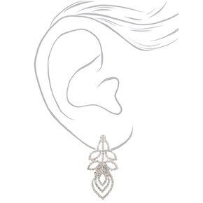 "Silver Rhinestone 1"" Layered Leaf Drop Earrings,"