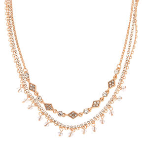 Gold Rhinestone Multi Strand Choker Necklace,