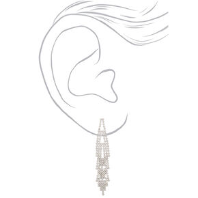 "Silver Rhinestone 3"" Layered Chandelier Drop Earrings,"