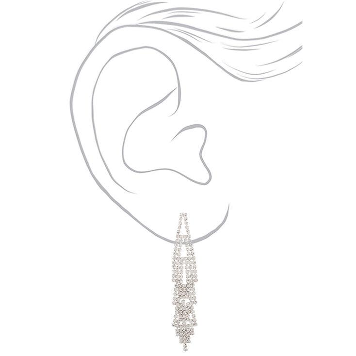 """Silver Rhinestone 3"""" Layered Chandelier Drop Earrings,"""