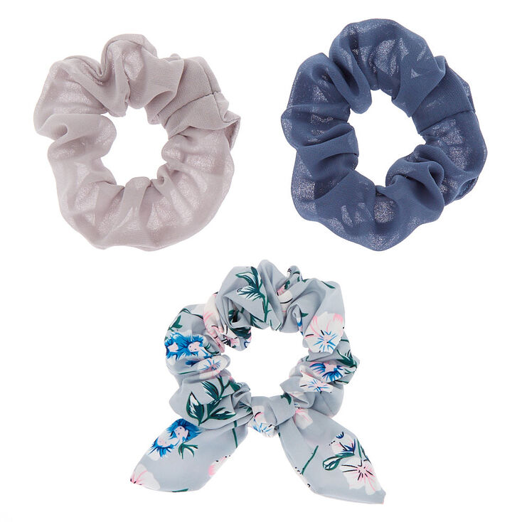 Small Floral Bow Hair Scrunchies - Gray, 3 Pack,