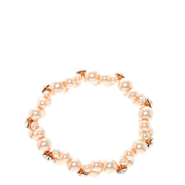 Double Row Faux Blush Pearl Bracelet,