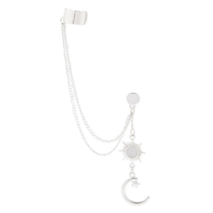 Silver Celestial Connector Earrings,